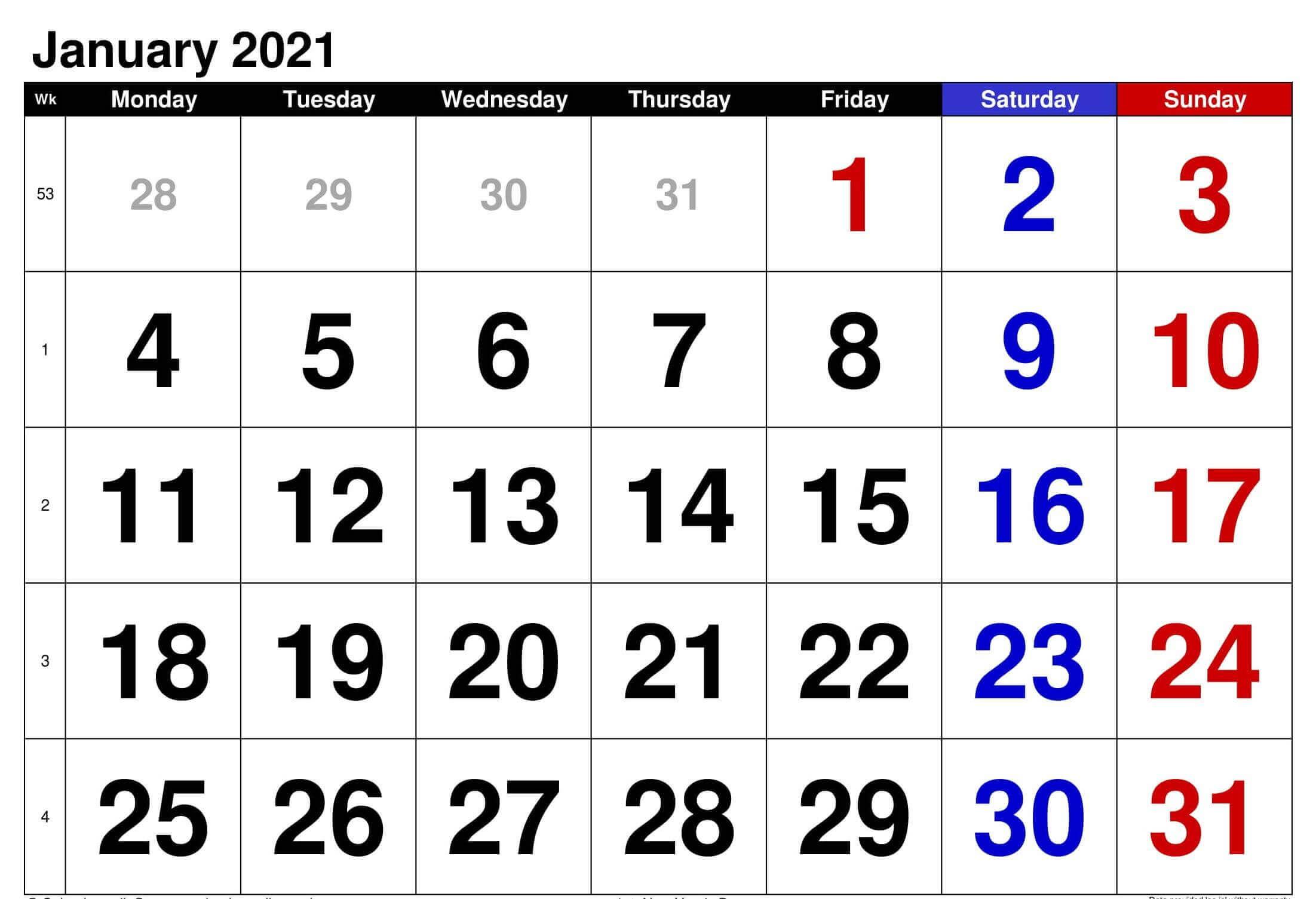 Print January 2021 Calendar Fillable