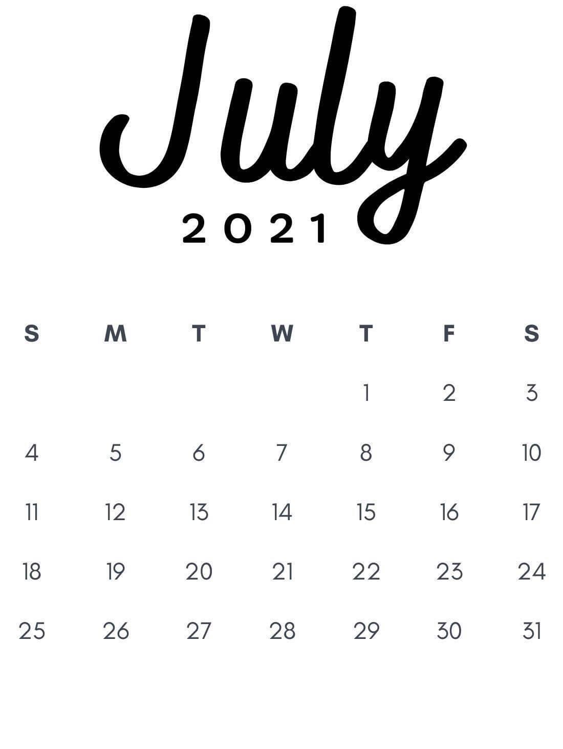 Print July 2021 Calendar Portrait