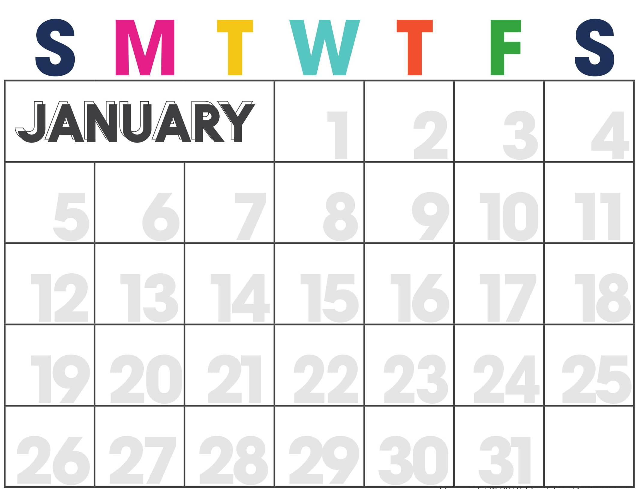 Printable Cute January 2020 Calendar