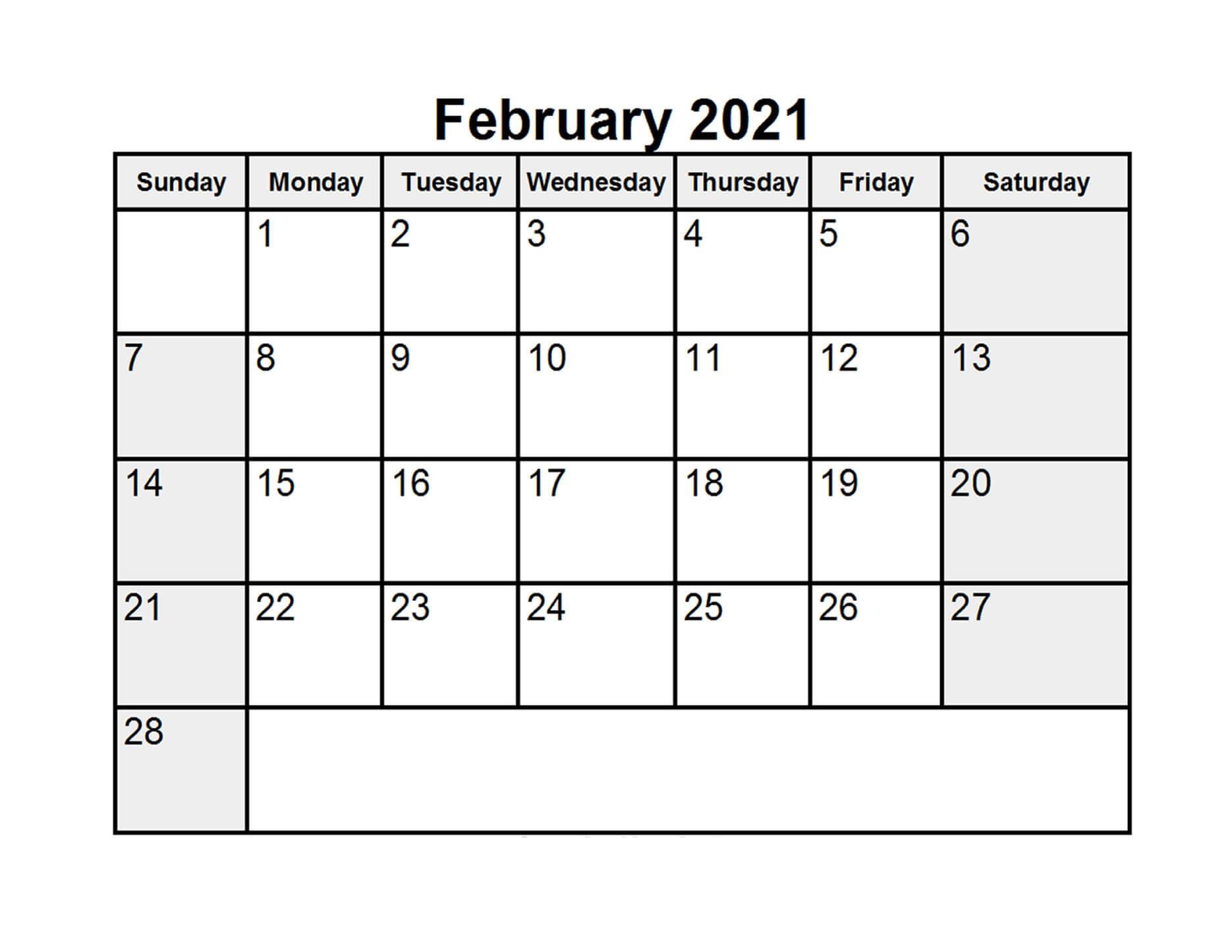 Printable February 2021 Calendar Editable
