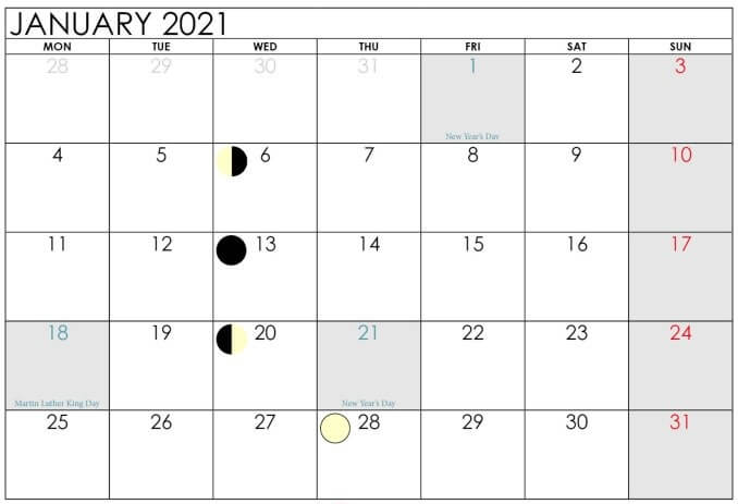 Printable January 2021 Moon Calendar