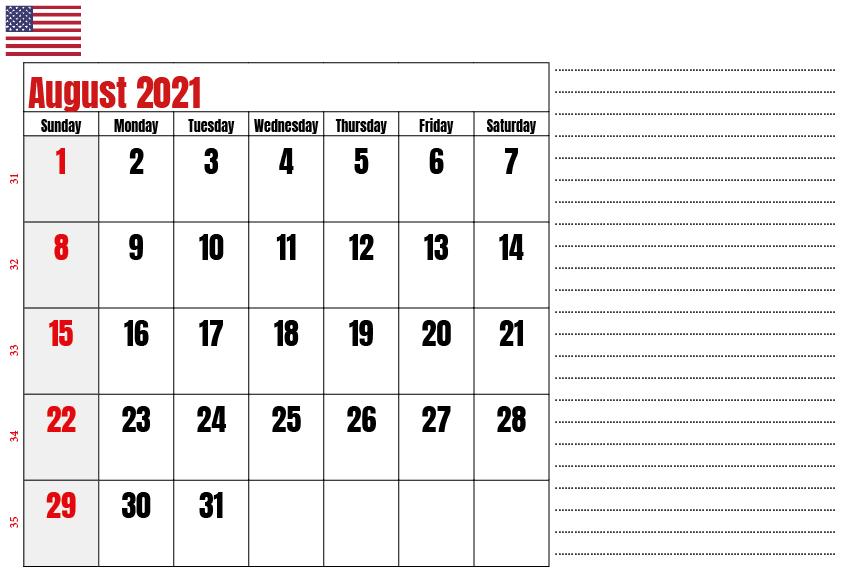 USA Holidays Calendar August 2021