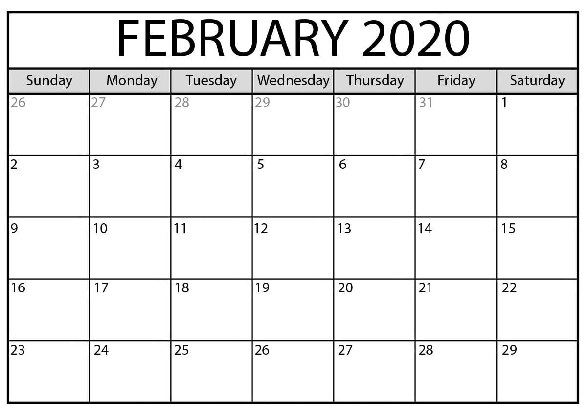 2020 February Calendar Fillable