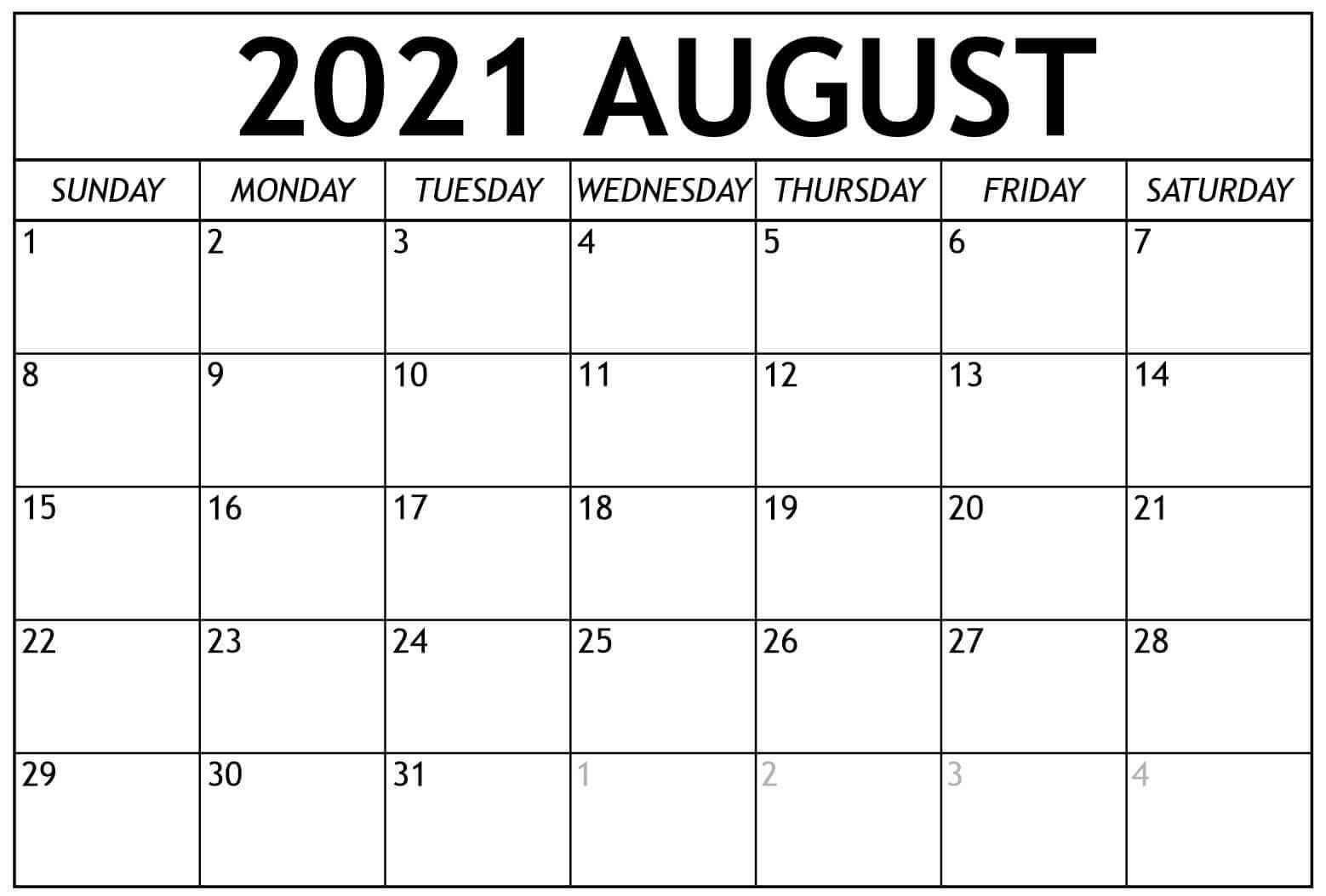 2021 august Blank Calendar template