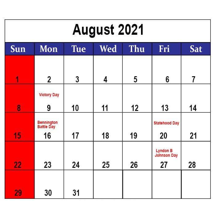 2021 august holidays calendar template