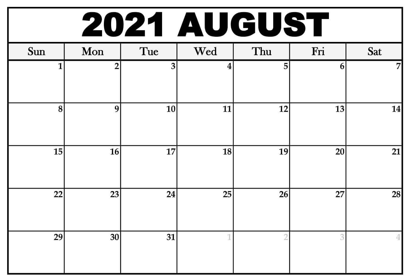 August 2021 Calendar Printable Template