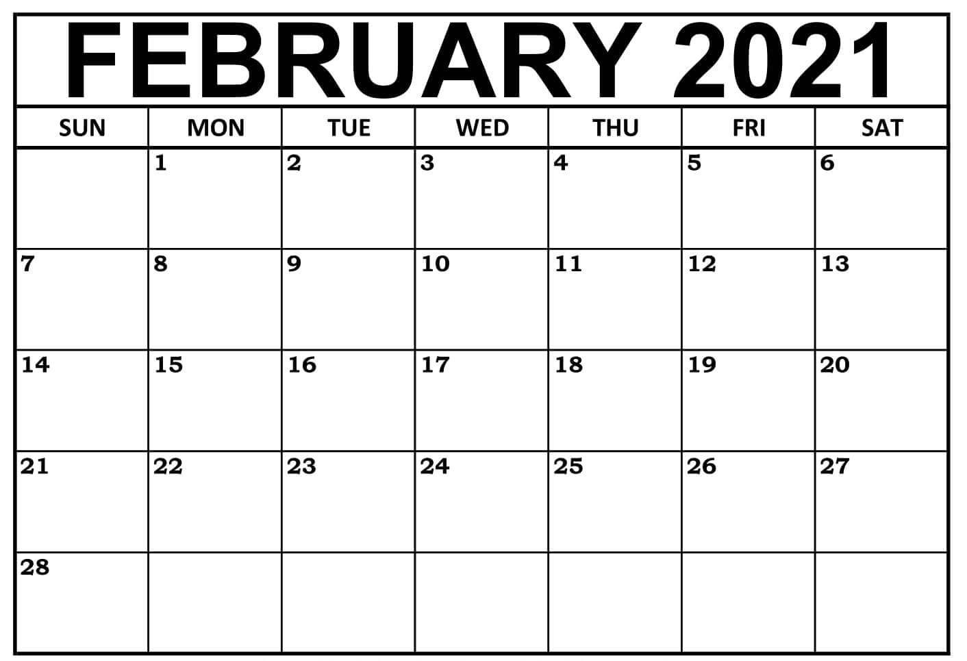 Blank February 2021 Calendar Fillable