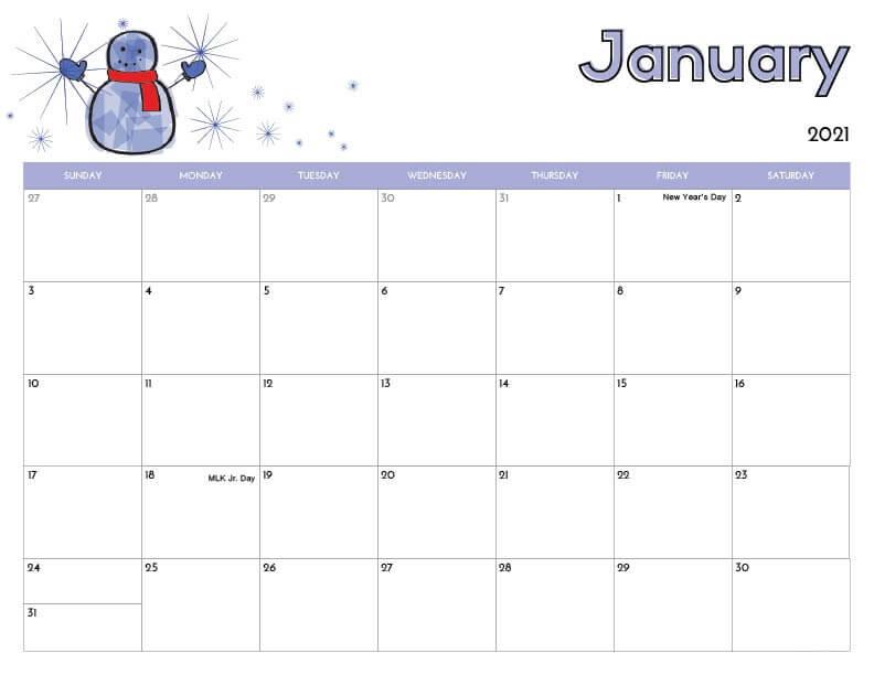 Cute January 2021 Calendar with Holidays