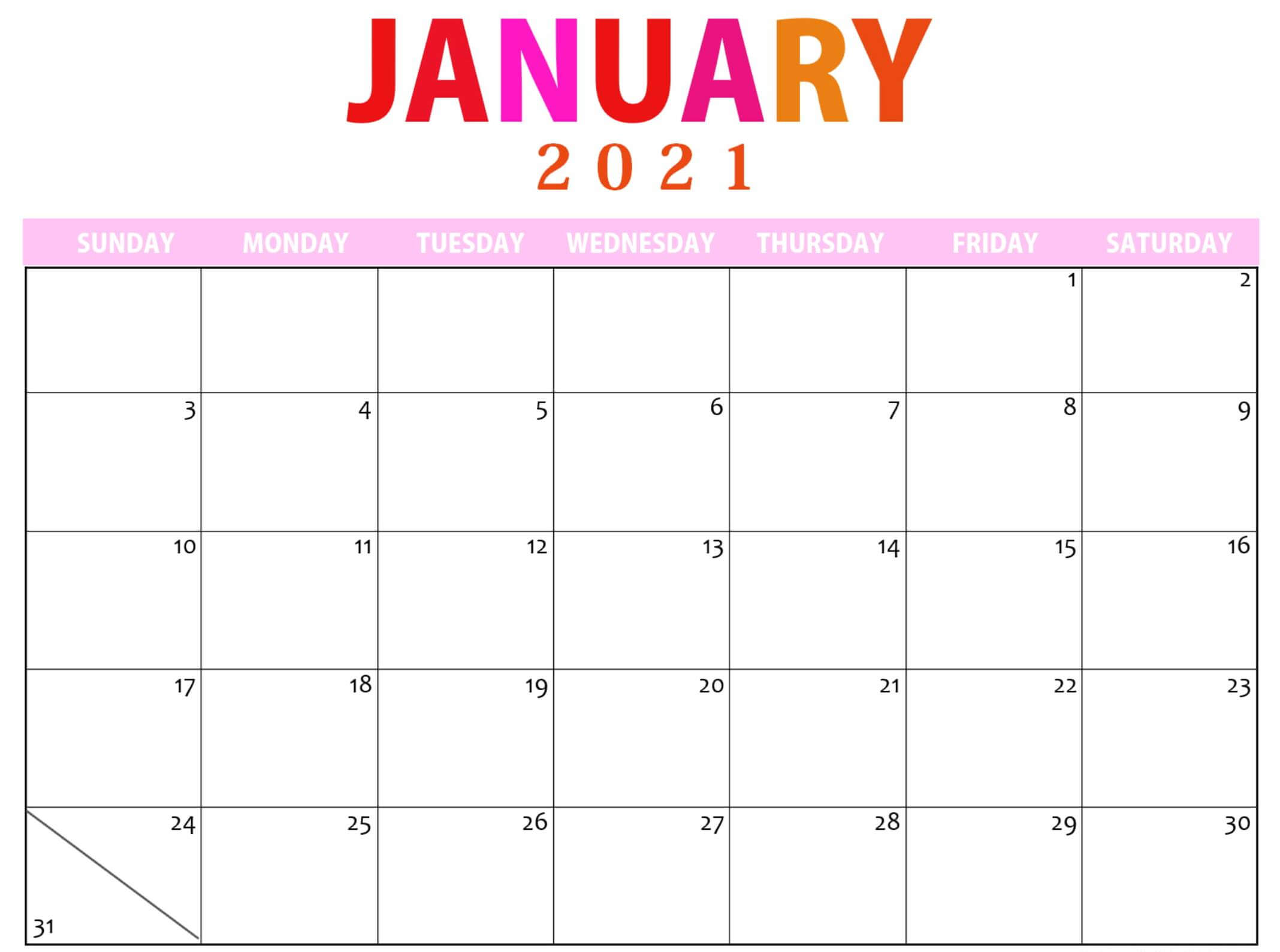 Cute January 2021 Calendar with Notes