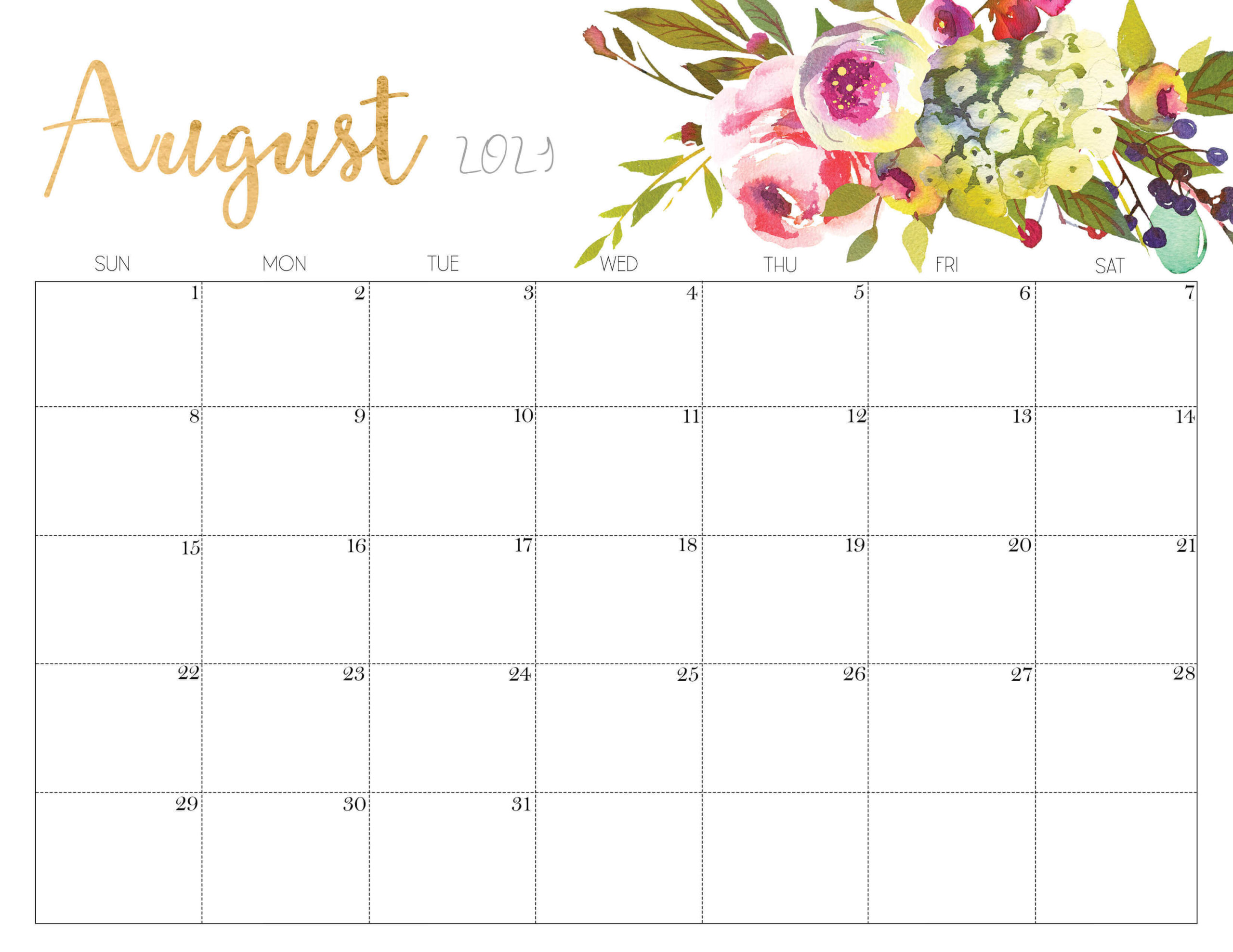 Cute august 2021 calendar floral
