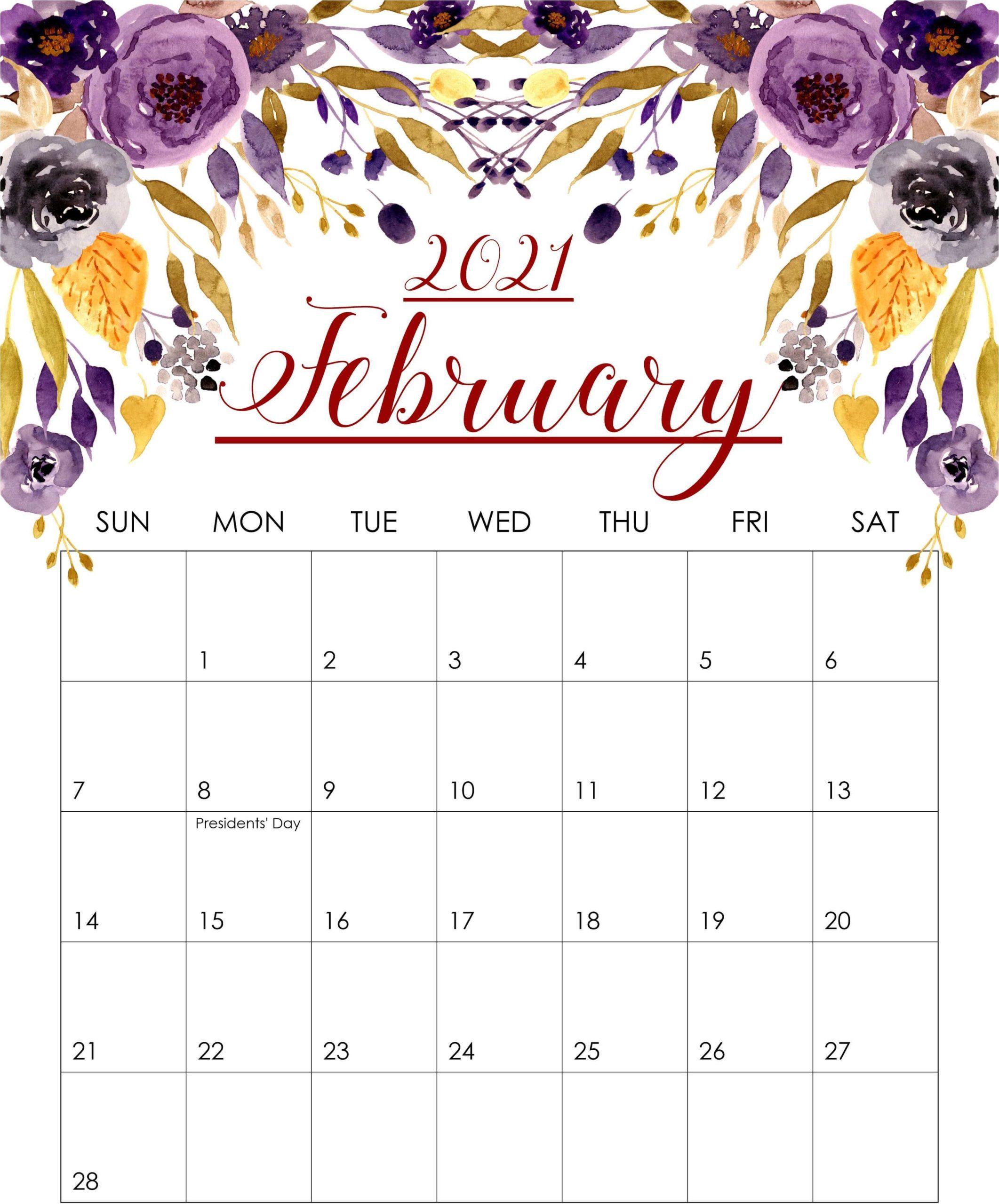 Decorative February 2021 Calendar Floral