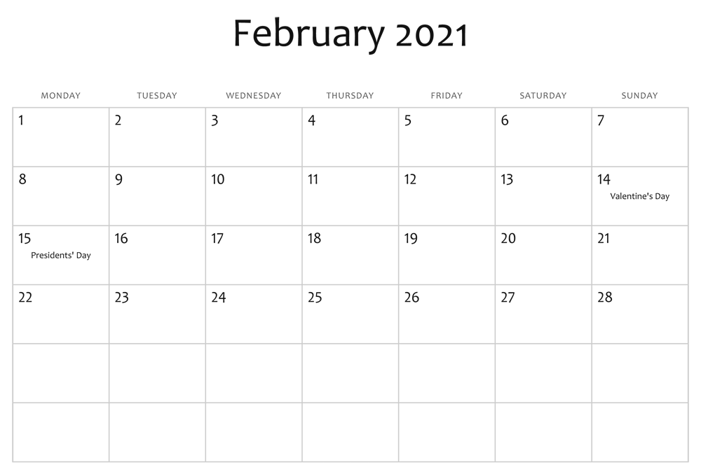 Editable February 2021 with Holidays