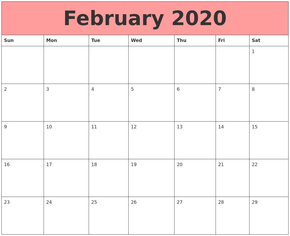 Blank 2020 February Calendar Fillable Templates
