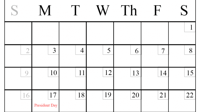 February 2020 Monthly Calendar With Holidays