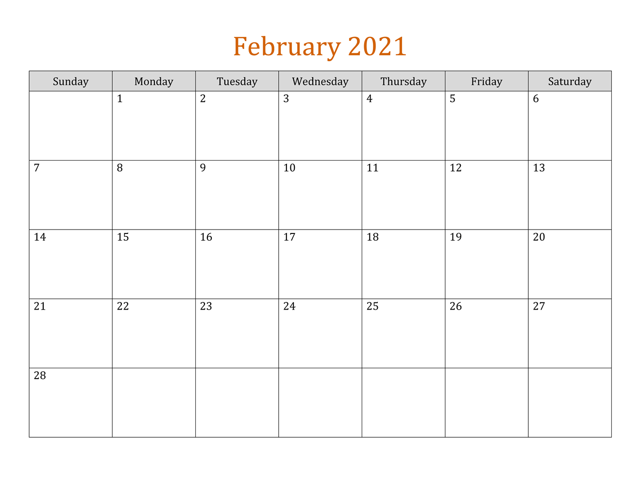 February 2021 Fillable Calendar