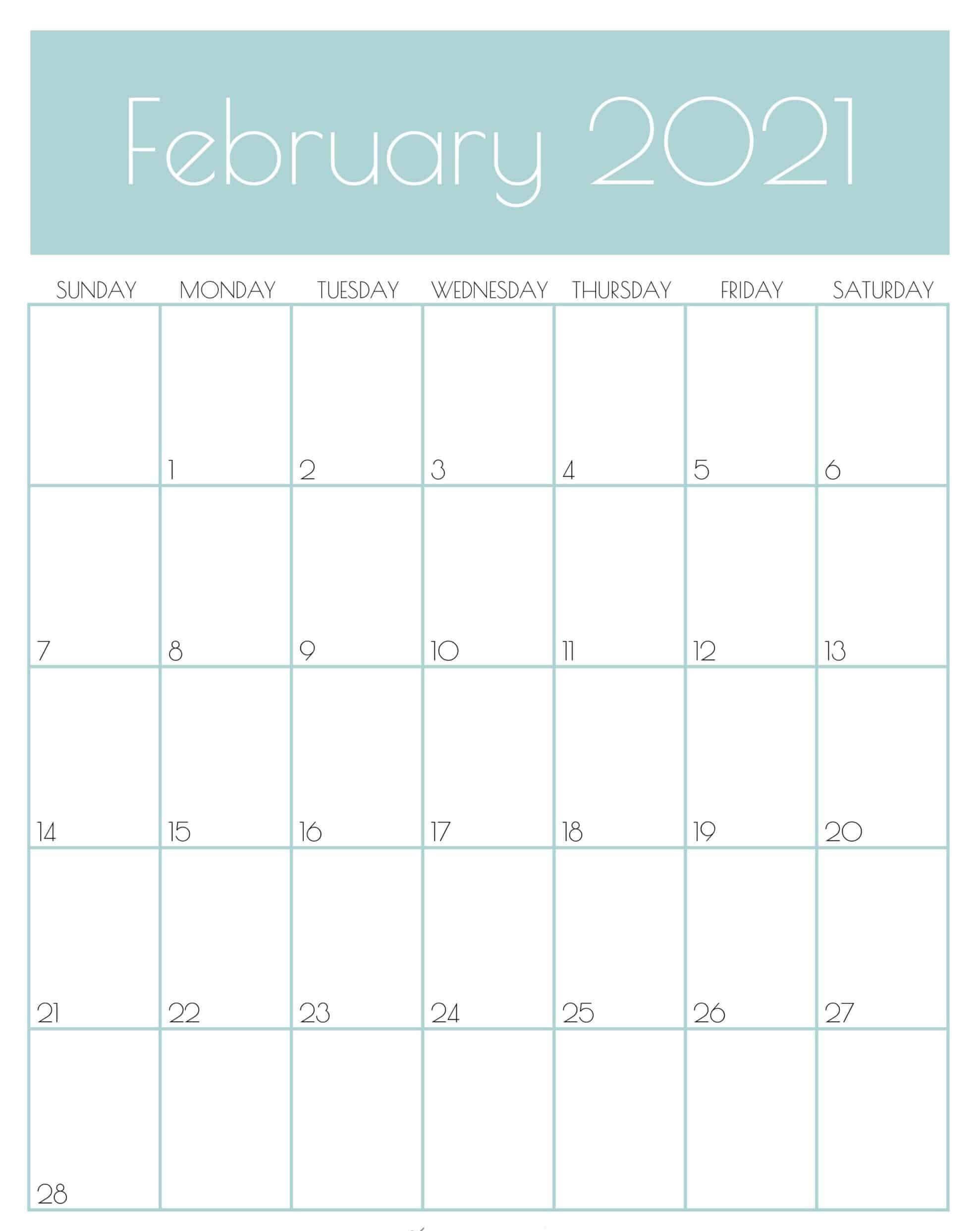 February 2021 Wall Calendar
