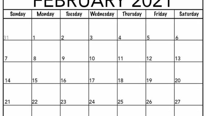 February Calendar 2021 Free Printable