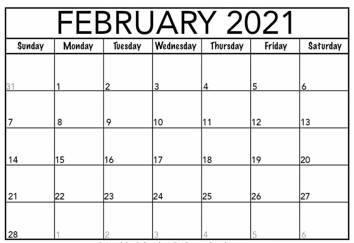 February Calendar 2021 Free Printable Template PDF Word Excel