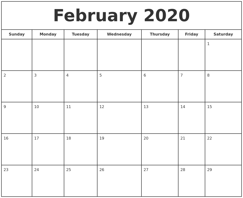 Fillable February Calendar 2020 Printable Editable with Notes 1