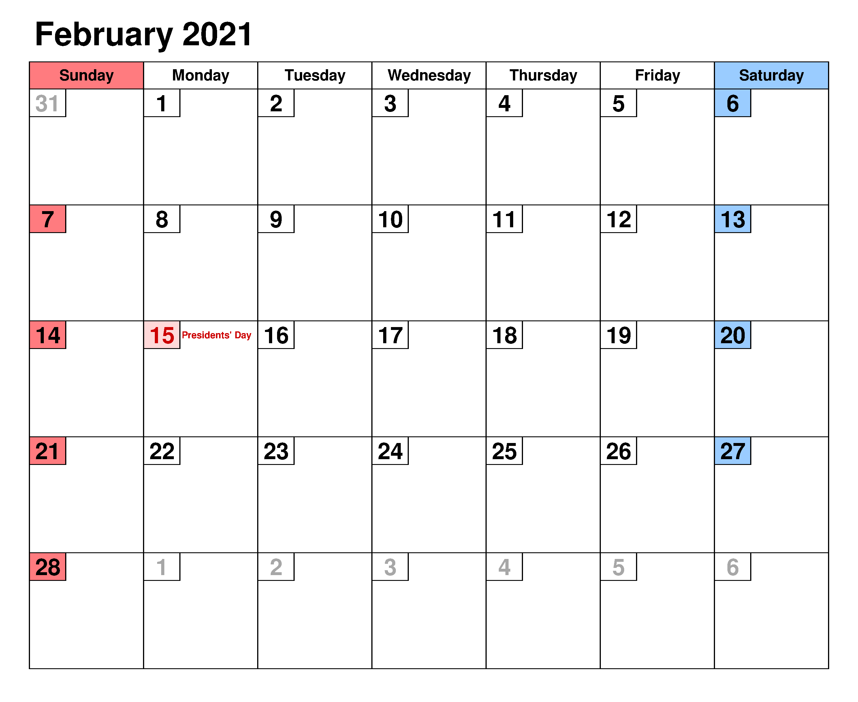 Fillable February 2021 Calnedar Excel