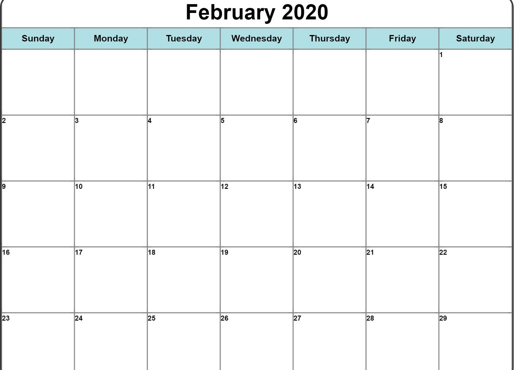Fillable February Calendar 2020