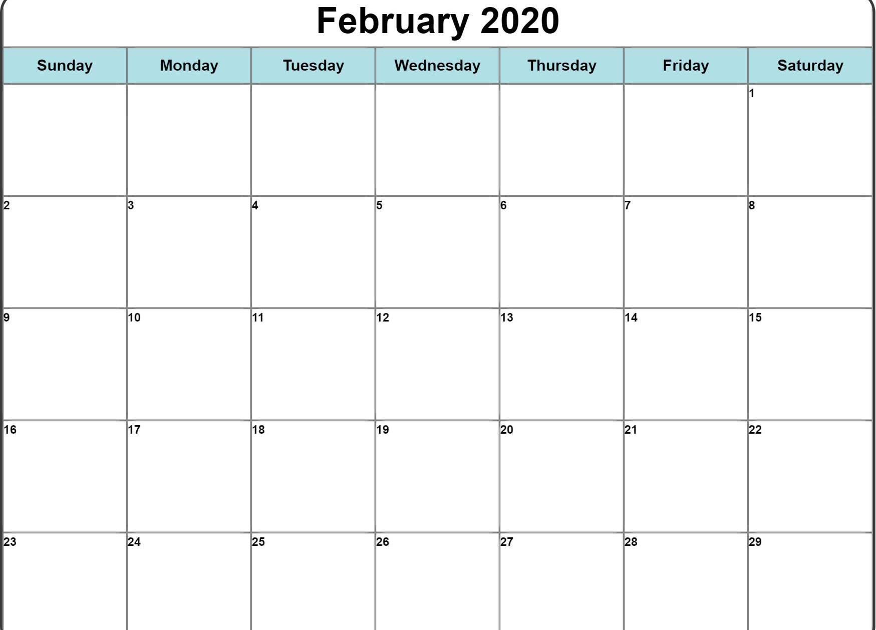 Fillable February Calendar 2020