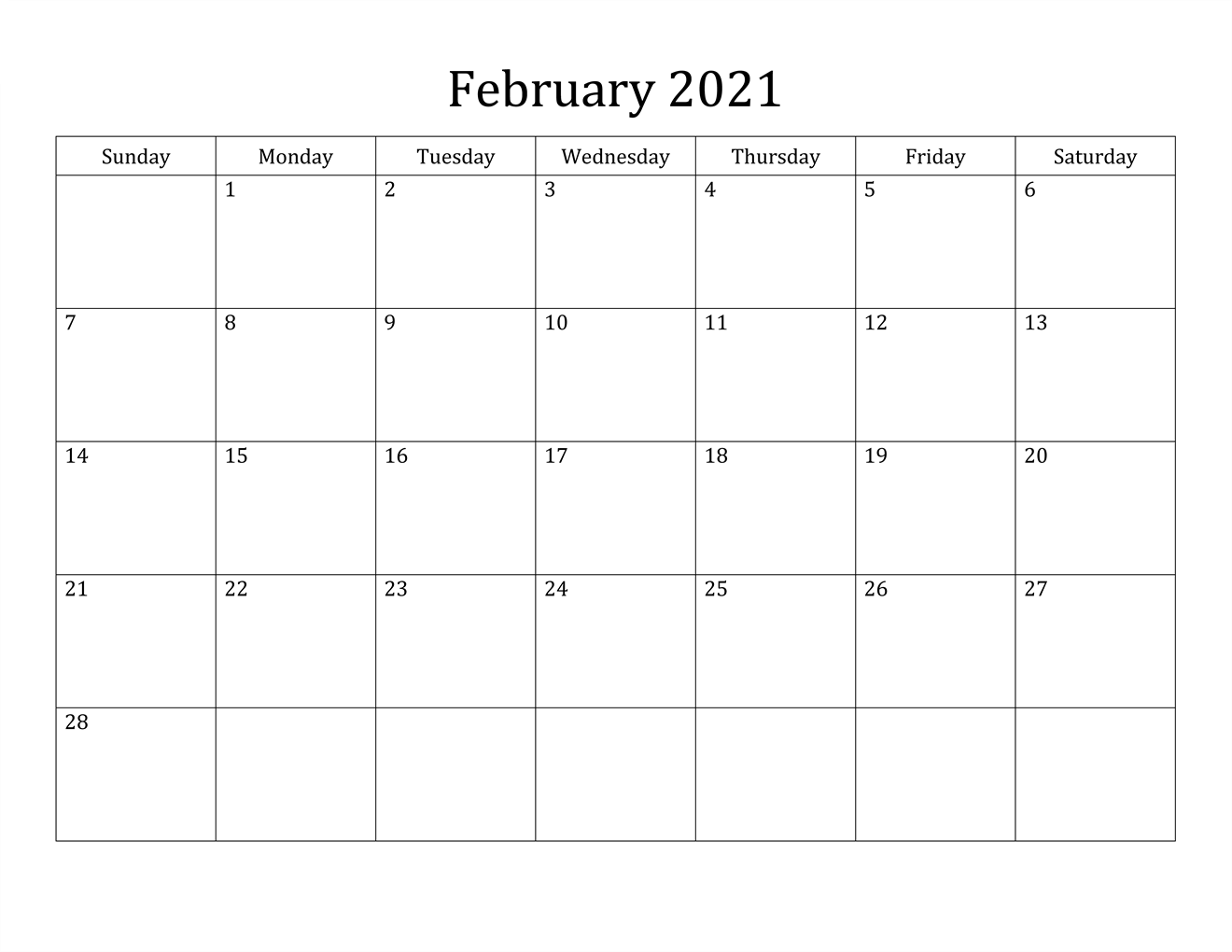 Fillable February Calendar 2021 Printable