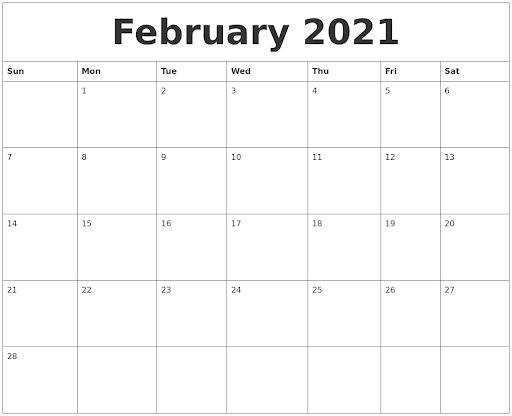 Fillable February Calendar 2021