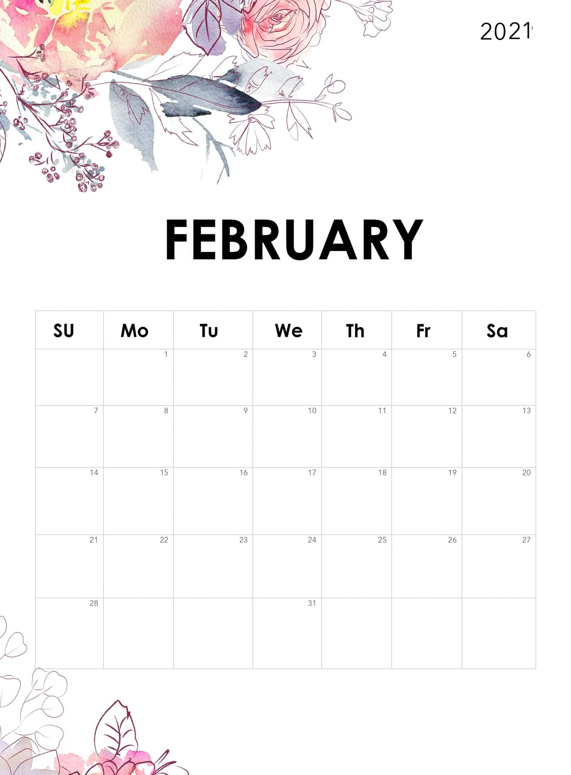 Floral February 2021 Desk Calendar
