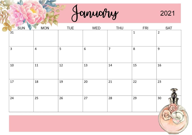 Floral January 2021 Desk Calendar
