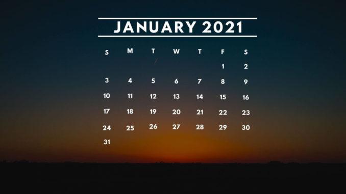 January 2021 Calendar Desktop Background Wallpaper