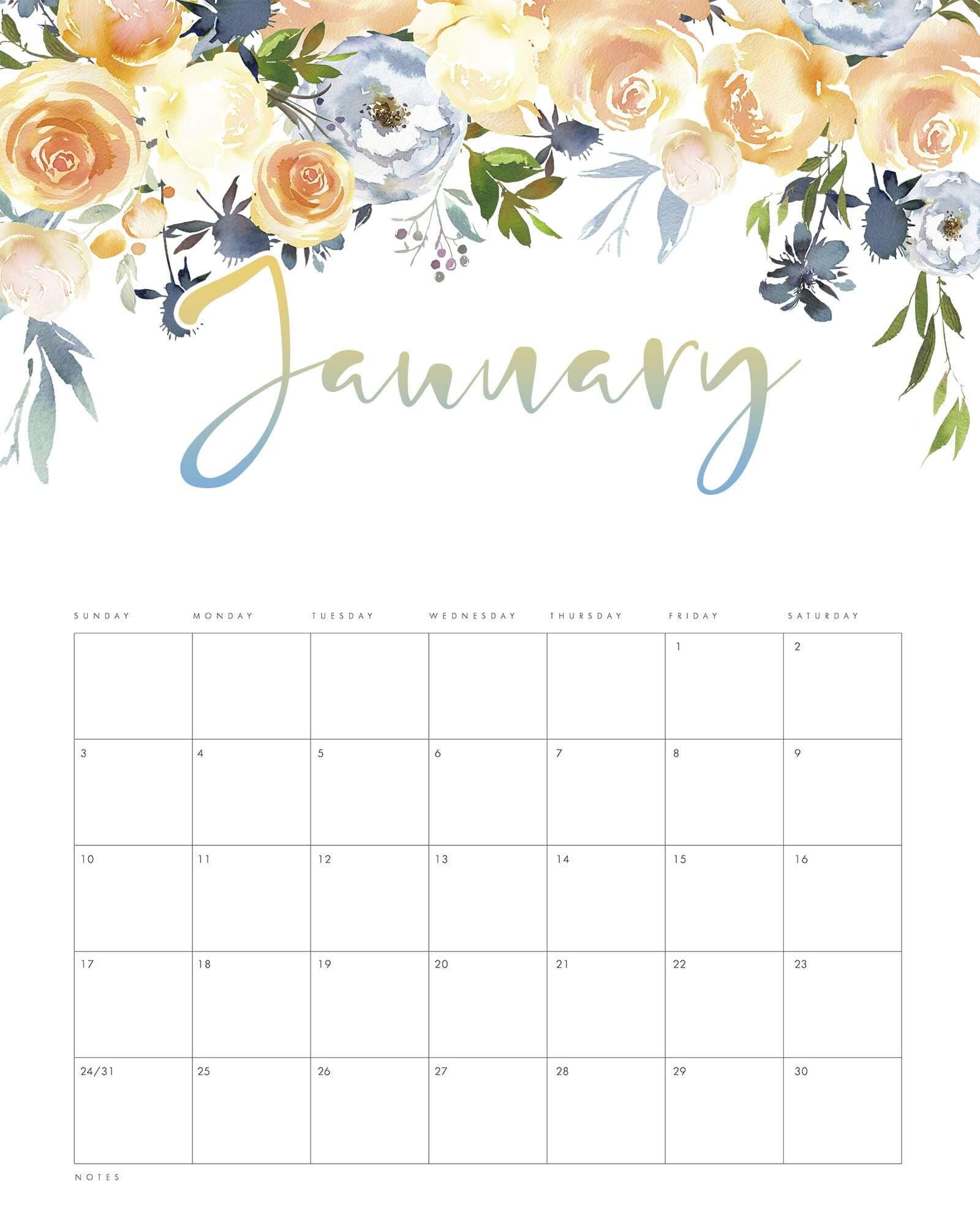 January 2021 Calendar Floral