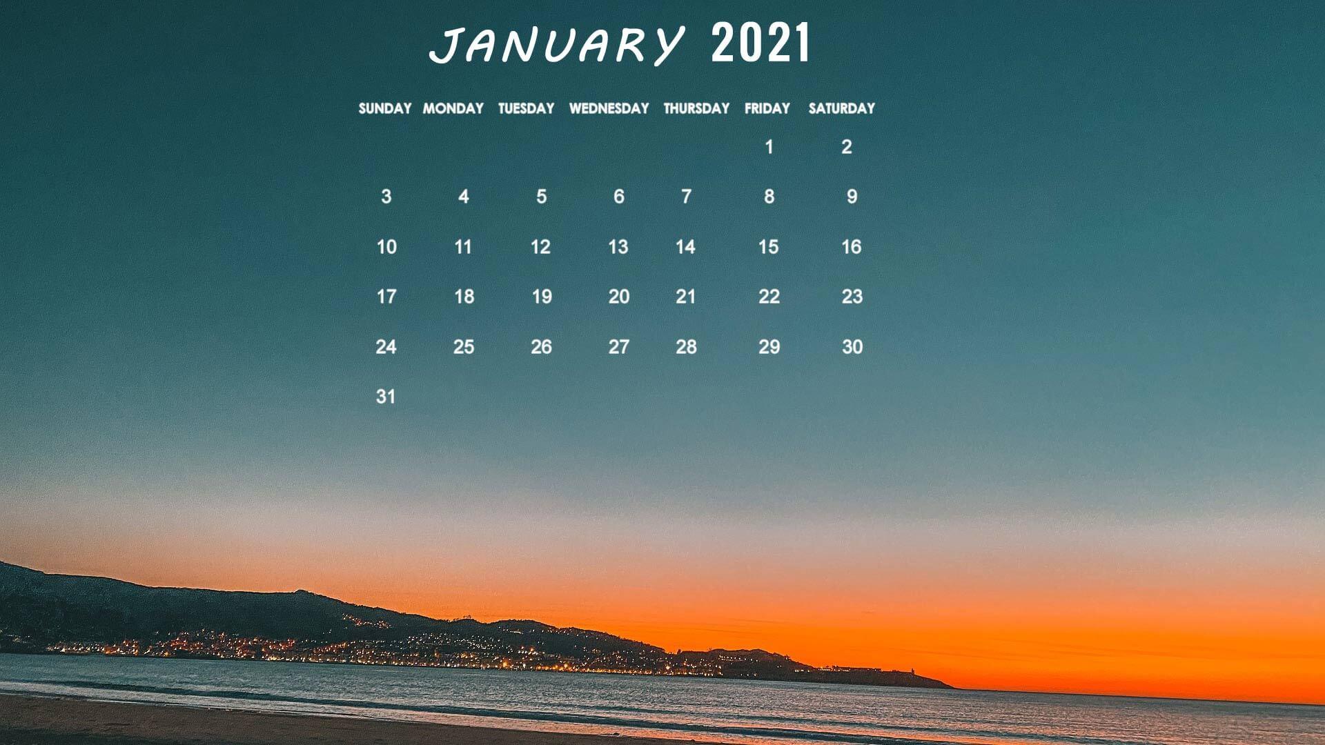 January 2021 Calendar Wallpaper For Laptop