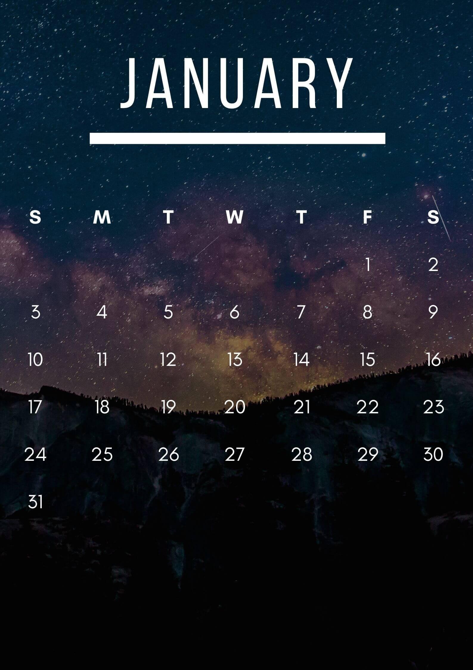 January 2021 Calendar Wallpaper For iPhone