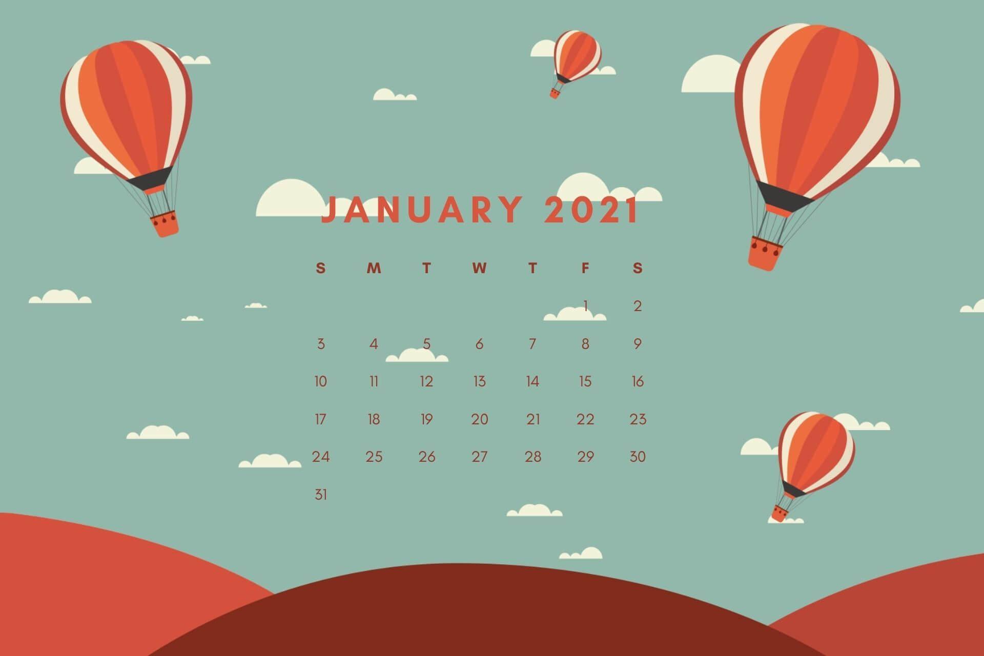 January 2021 Calendar Wallpaper