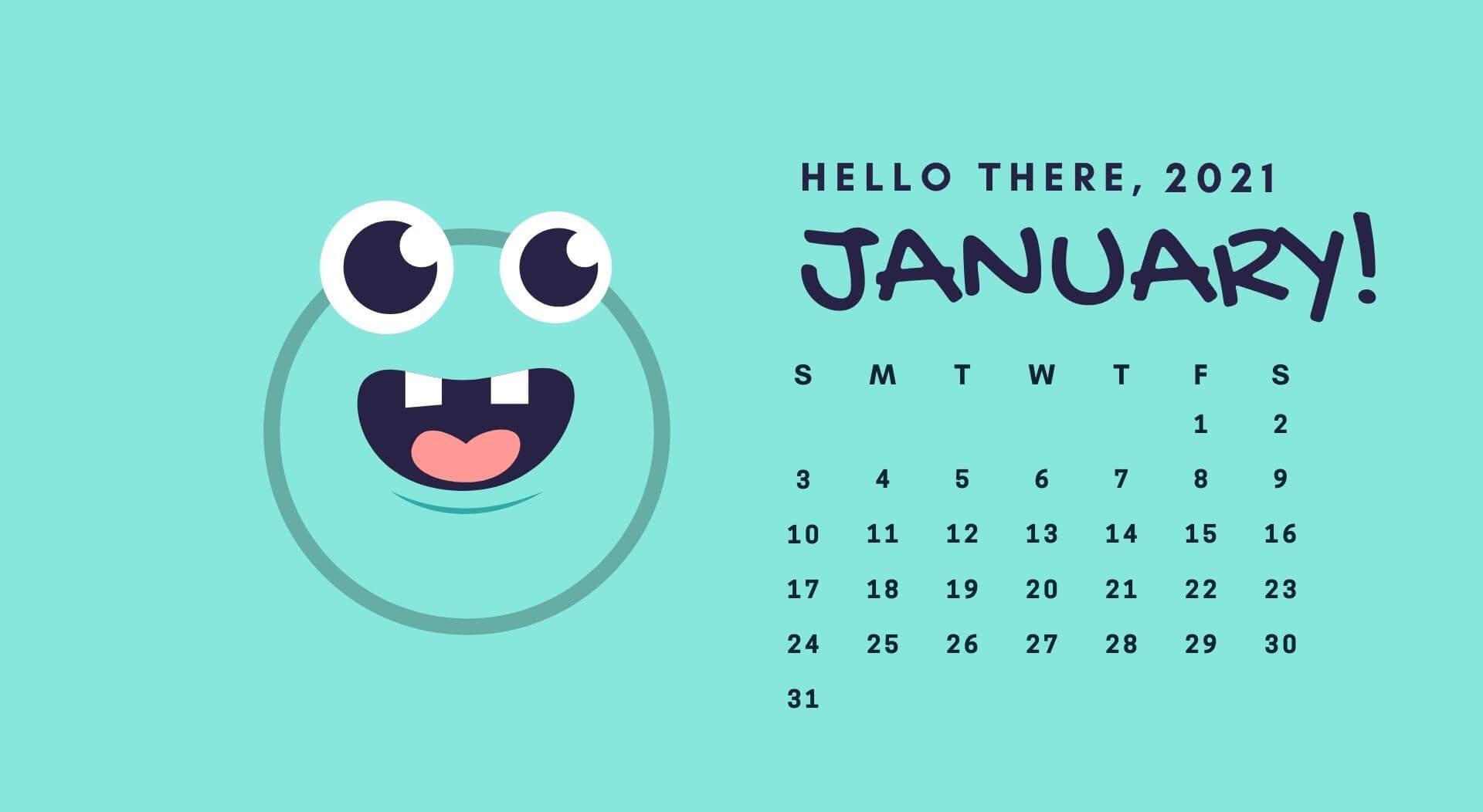 January 2021 HD Calendar Wallpaper