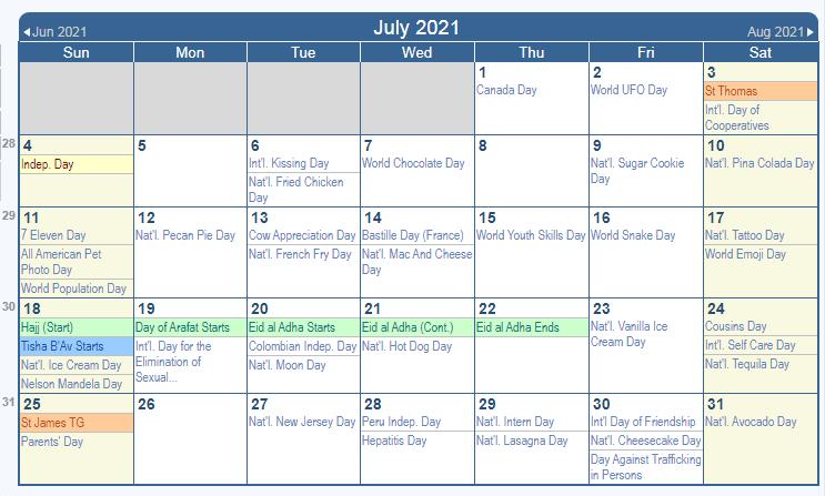 July 2021 Holidays Calendar