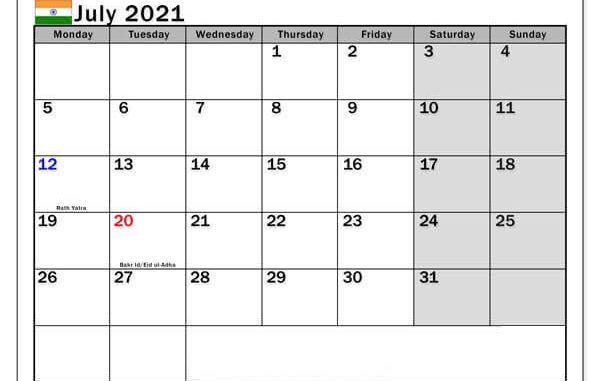 July 2021 India Holidays Calendar