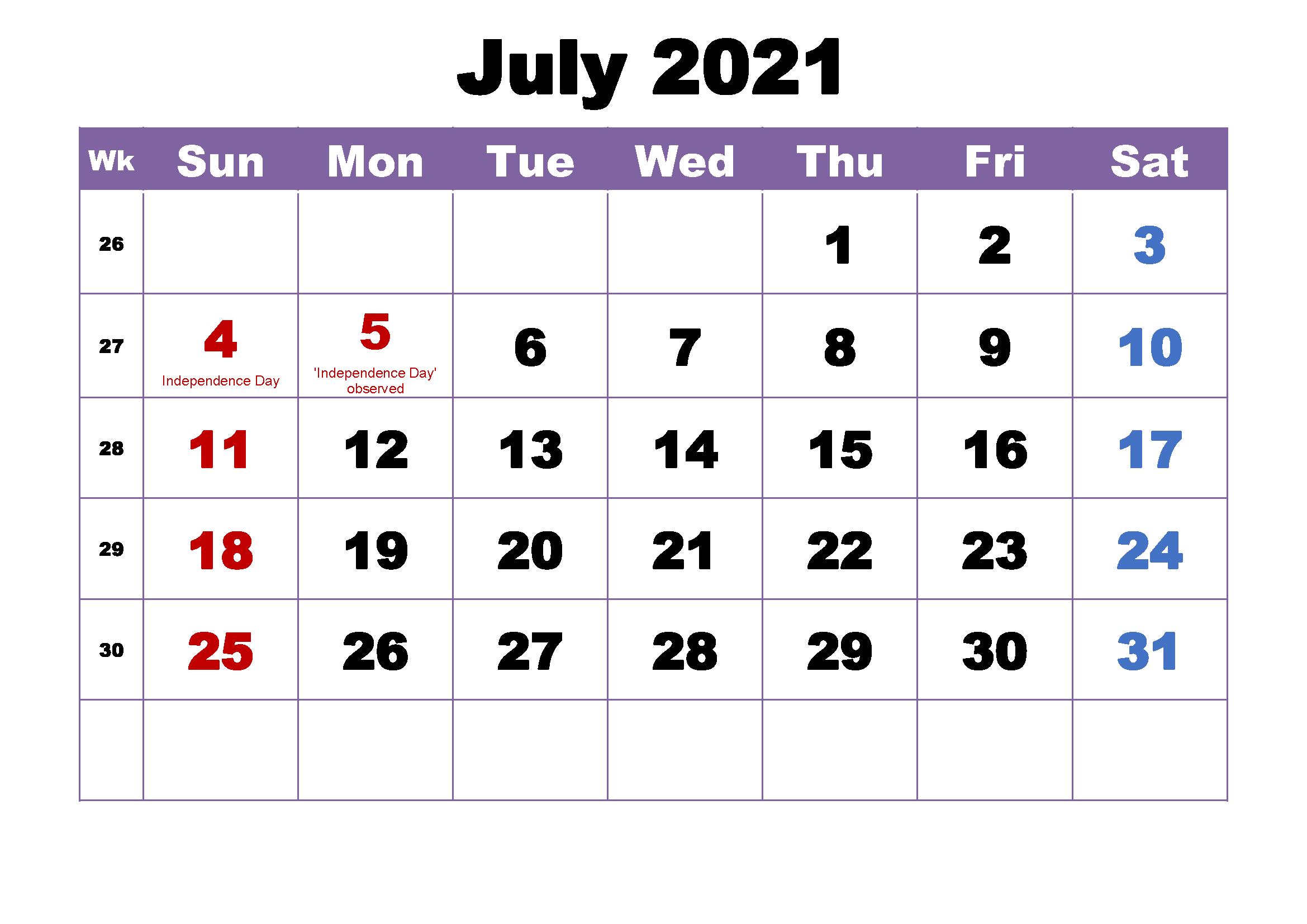 July Holidays 2021 Calendar