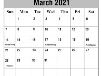 March 2021 UK HOlidays Calendar