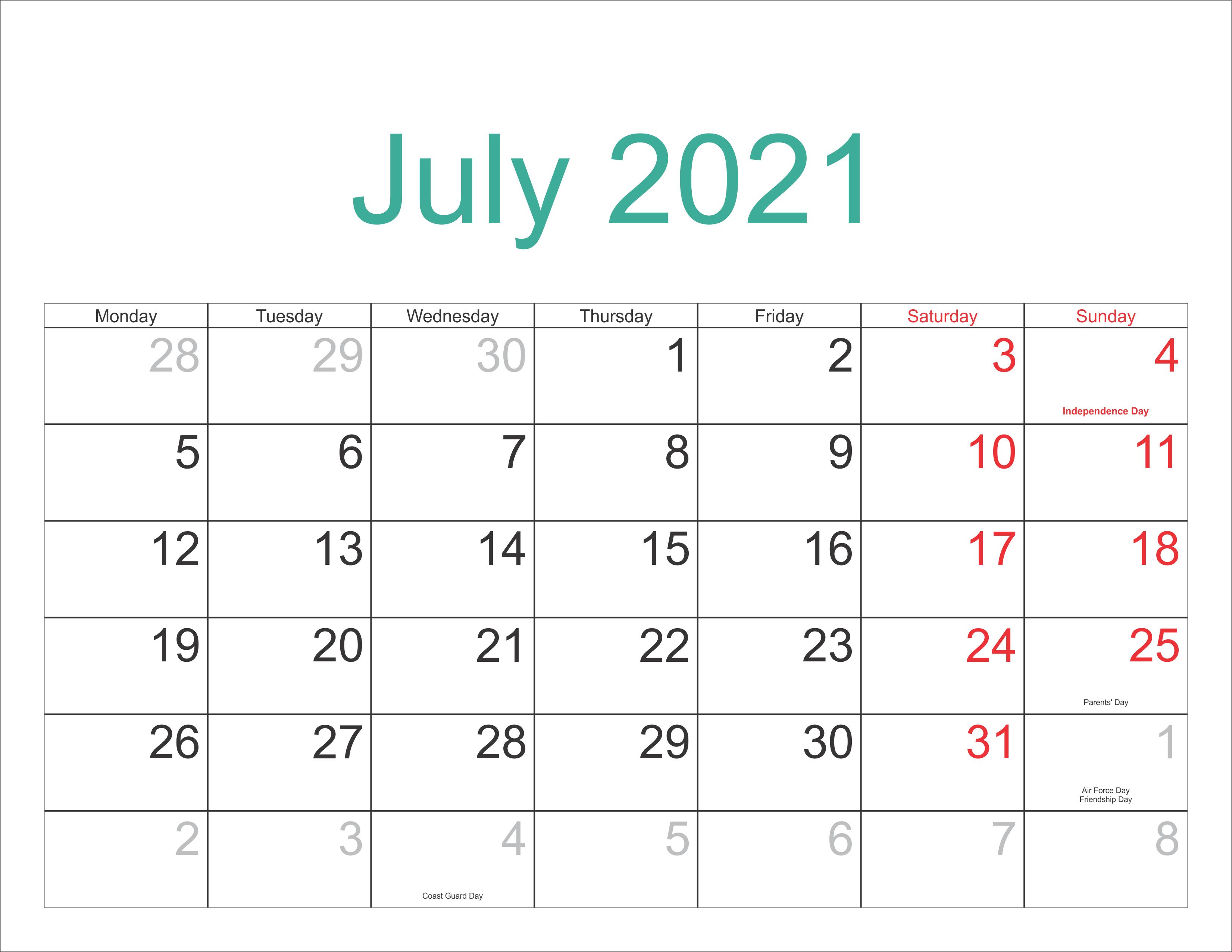 Printable July 2021 Holidays Calendar Template