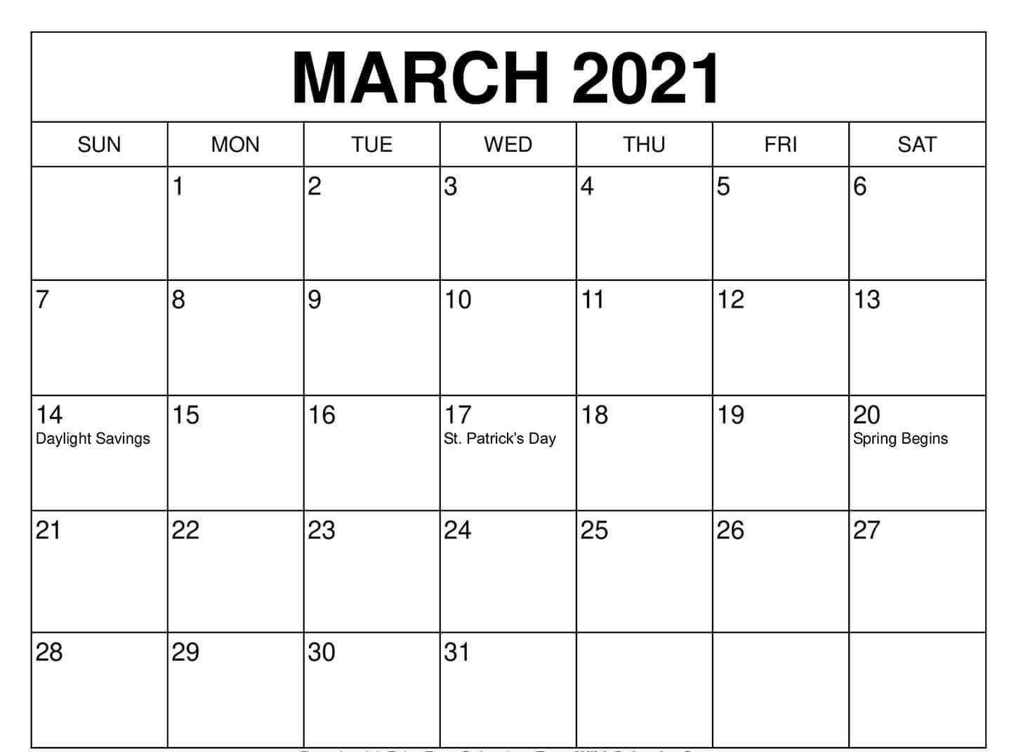 Printable March Holidays 2021 Calendar