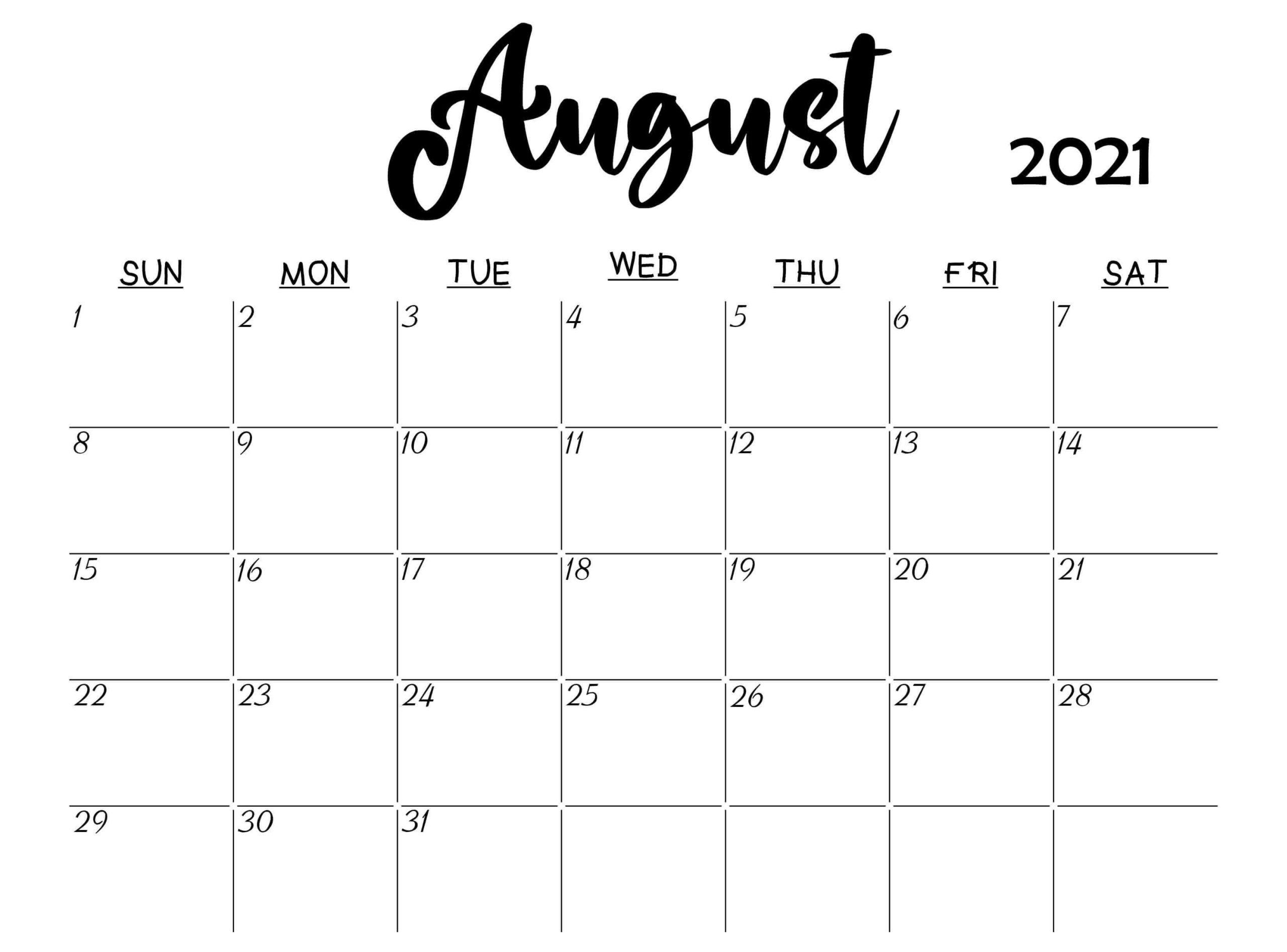 blank august 2021 calendar printable
