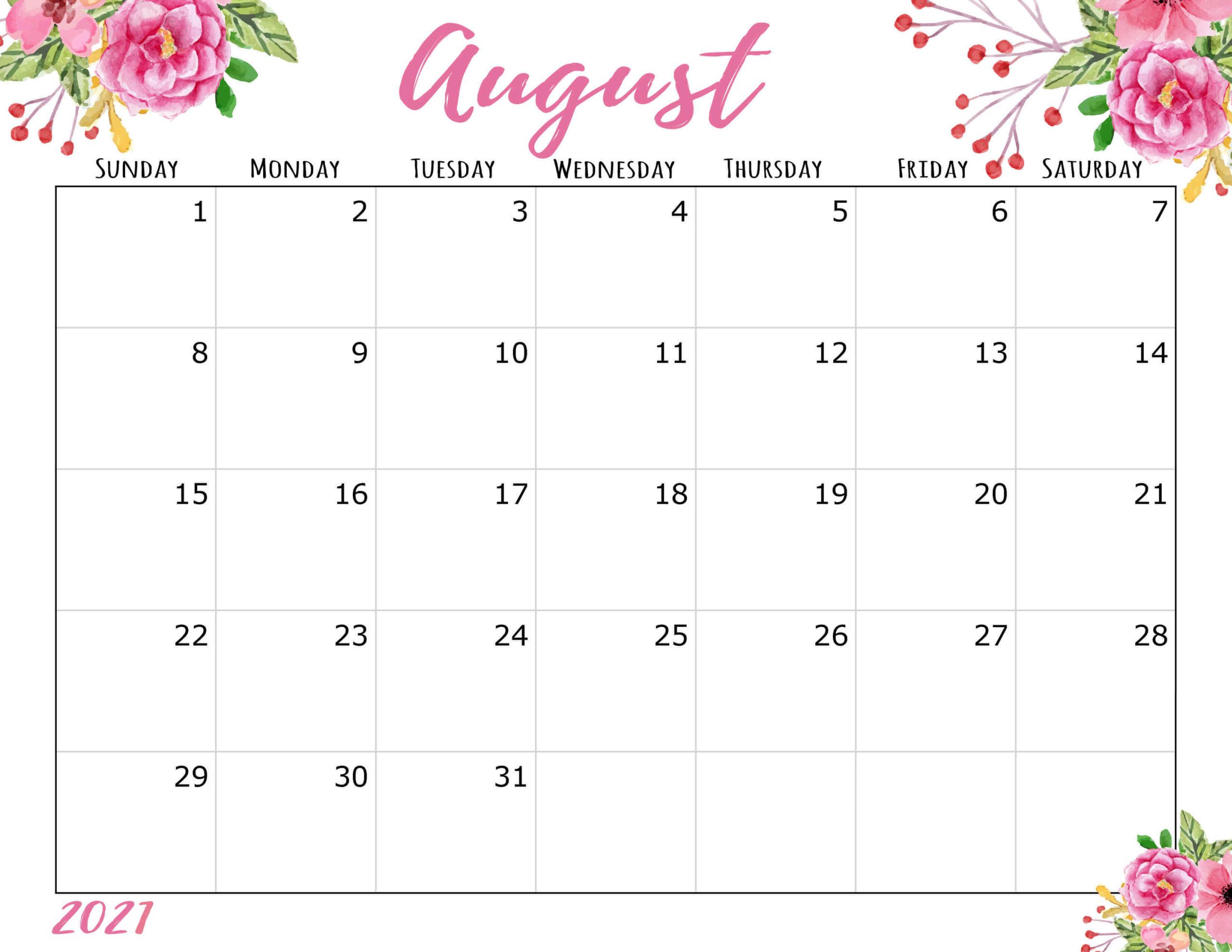 floral august 2021 calendar cute