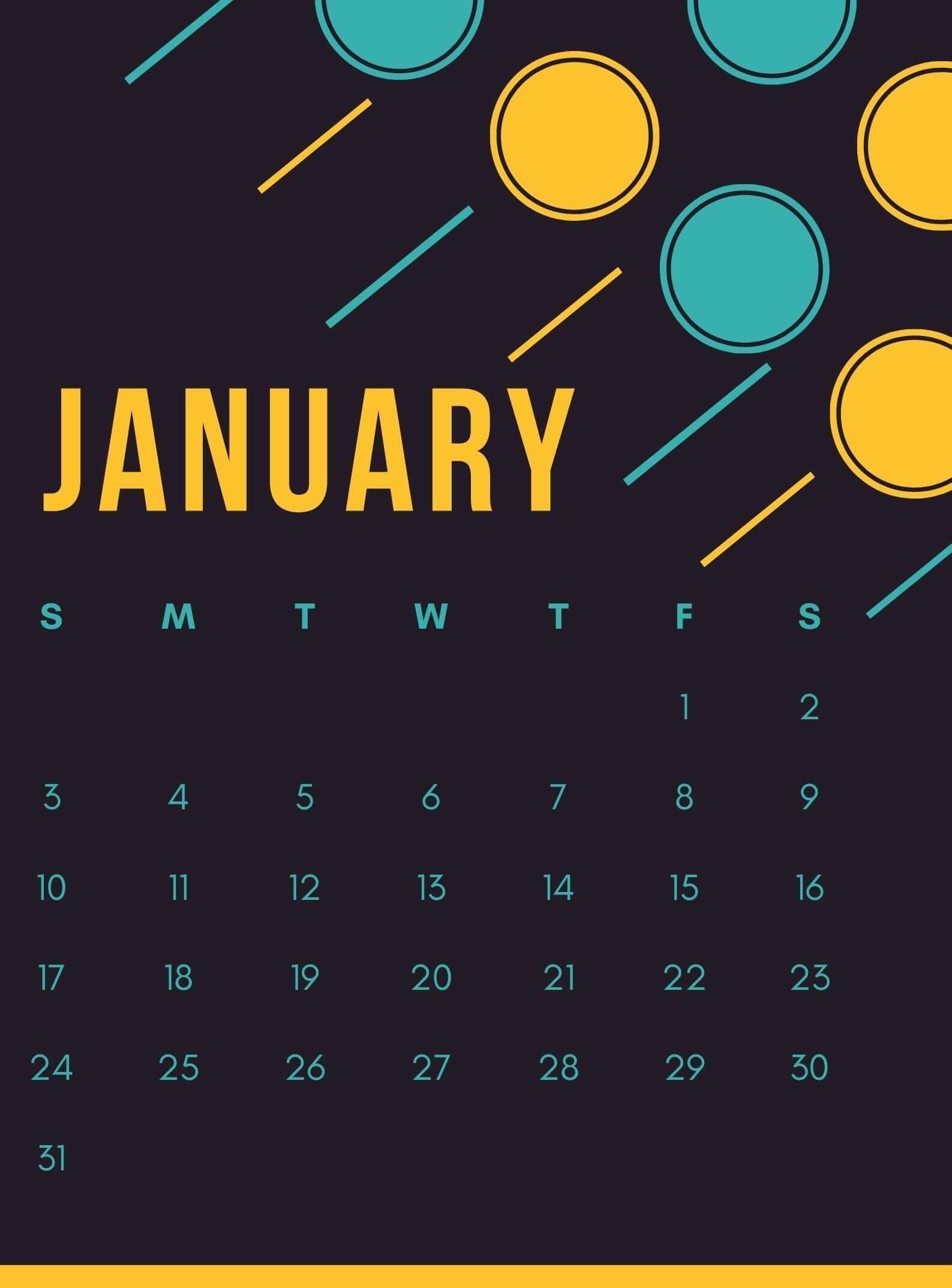 iPhone January 2021 Calendar Wallpaper