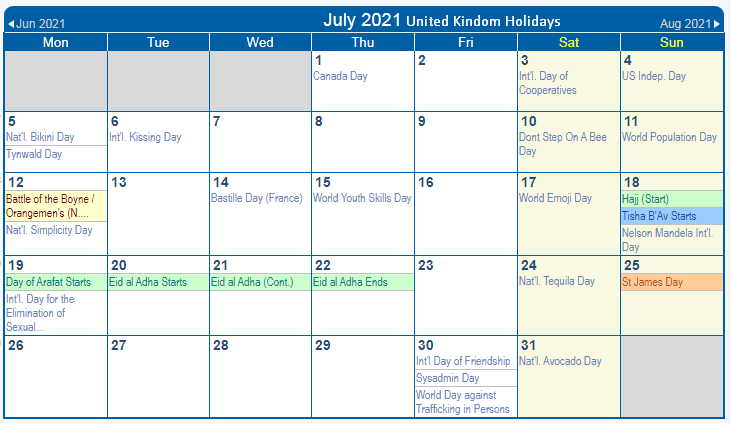 july 2021 UK Holidays calendar