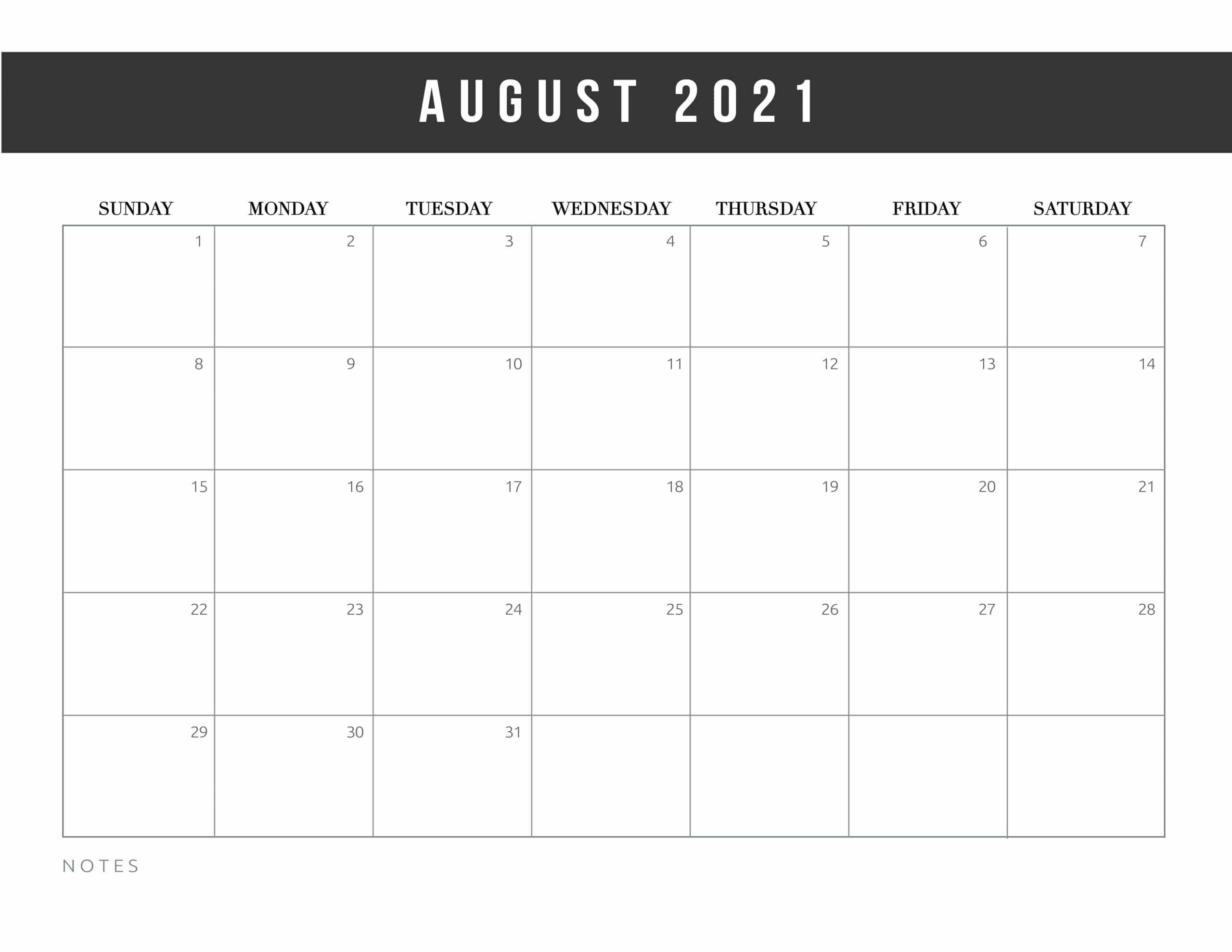 2021 August Blank Calendar Word