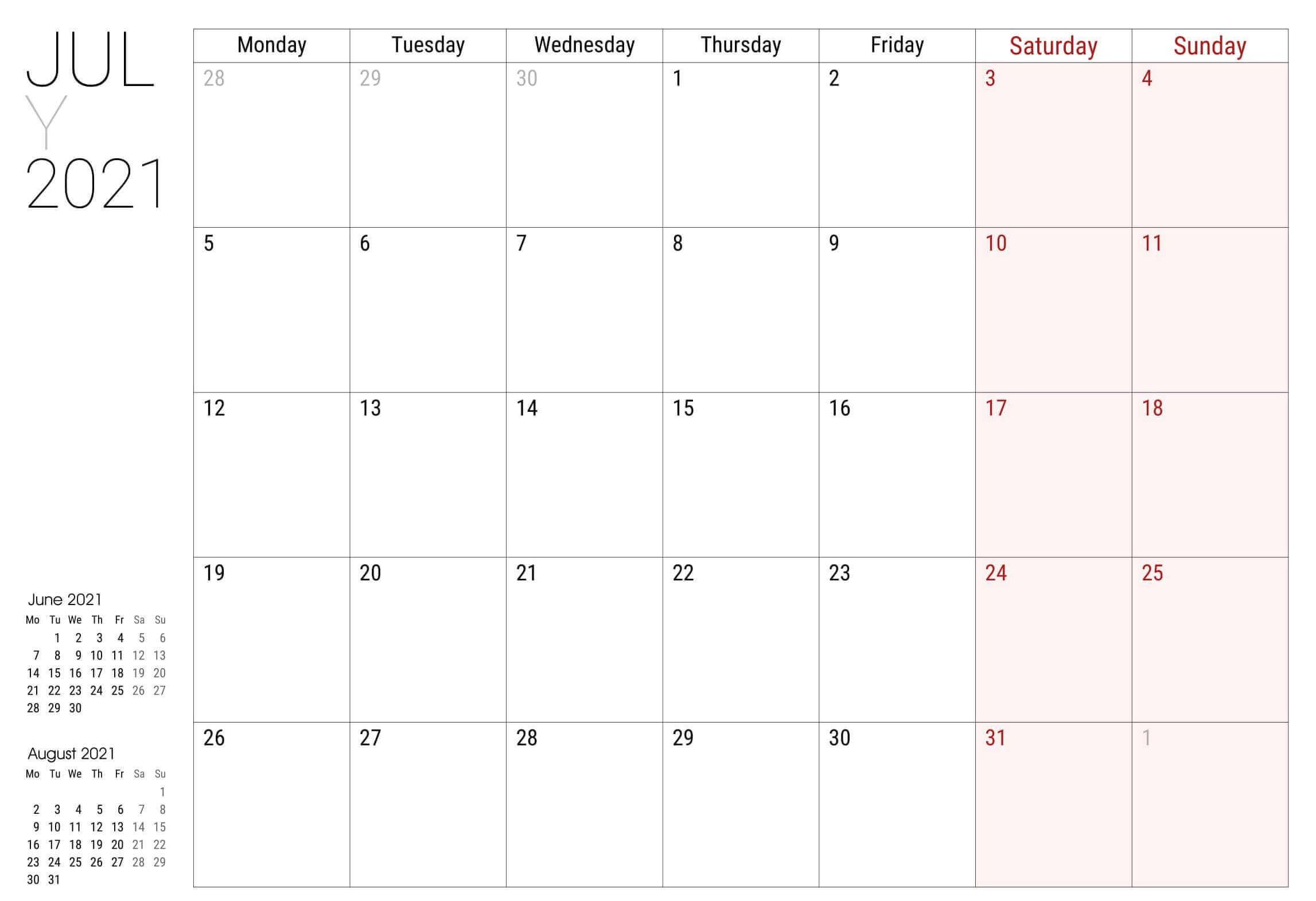 2021 July Calendar PDF