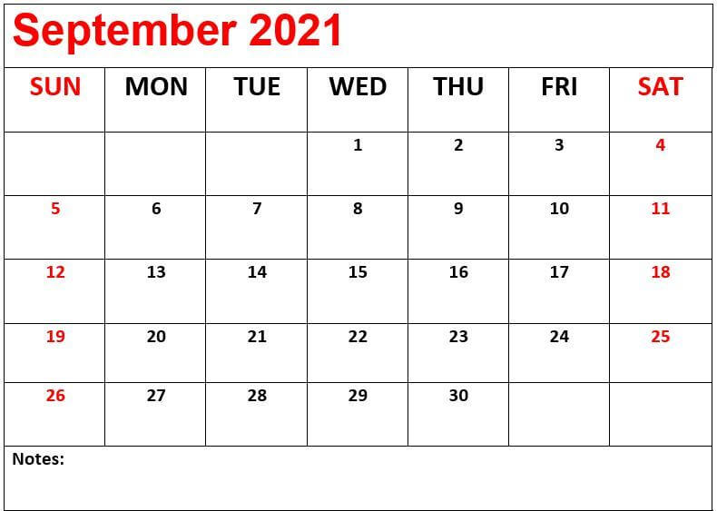 2021 September Calendar with Notes