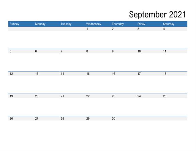 2021 September Editable Calendar Excel